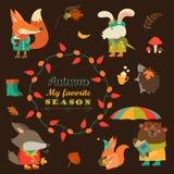 Grupo de personagens de banda desenhada e de elementos do outono Foto de Stock