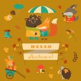 Grupo de personagens de banda desenhada e de elementos do outono Fotografia de Stock Royalty Free