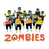 Grupo de personajes de dibujos animados del zombi Fotografía de archivo