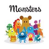Grupo de personajes de dibujos animados lindos de los monstruos Fotografía de archivo libre de regalías