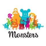 Grupo de personajes de dibujos animados lindos de los monstruos Foto de archivo libre de regalías