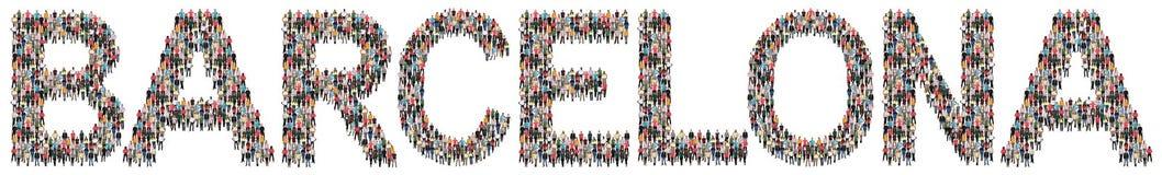 Grupo de personas étnico multi de Barcelona imagen de archivo