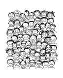 Grupo de personas, bosquejo para su diseño Imágenes de archivo libres de regalías