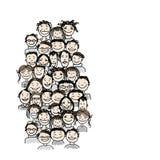 Grupo de personas, bosquejo para su diseño Imagen de archivo libre de regalías