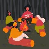 Grupo de personas cerca del fuego del campo con la canción de la hoguera ilustración del vector
