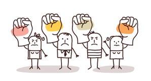 Grupo de personas de la historieta que dice NO con los puños aumentados Imagenes de archivo