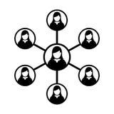 Grupo de personas del símbolo del vector del icono de la red de las mujeres y trabajo en equipo de la persona conectada del negoc Fotos de archivo libres de regalías