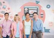 Grupo de personas delante de gráficos de la oficina de negocios ilustración del vector
