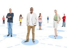 Grupo de personas diverso que coloca concepto individual Fotos de archivo