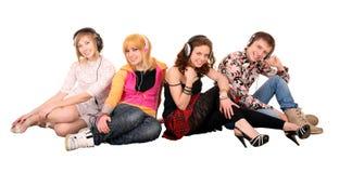 Grupo de personas en auricular. Imagen de archivo libre de regalías