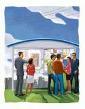 Grupo de personas en un tablero de la información que representa un plan de la construcción Agentes inmobiliarios y compradores E ilustración del vector