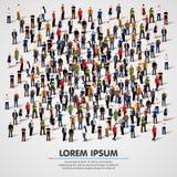 Grupo de personas grande apretado en el fondo blanco libre illustration