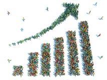 Grupo de personas grande de pie bajo la forma de gráfico stock de ilustración