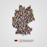 Grupo de personas grande en forma del mapa de Alemania Fondo para la presentación stock de ilustración