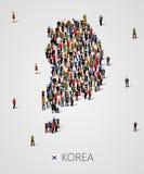 Grupo de personas grande en forma del mapa de la Corea del Sur Población de plantilla de la Corea del Sur o del demographics ilustración del vector
