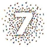 Grupo de personas grande en gran número forma 7 siete stock de ilustración