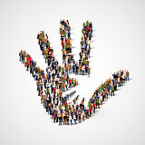 Grupo de personas grande en la forma de icono de la mano amiga Cuidado, adopción, embarazo o concepto de familia libre illustration