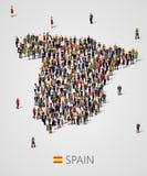 Grupo de personas grande en la forma de mapa de España Población de España o de plantilla del demographics Fondo para la presenta stock de ilustración
