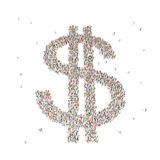 Grupo de personas grande en la forma de una muestra de dólar Imagen de archivo libre de regalías