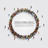 Grupo de personas grande en la forma del círculo Ilustración del vector stock de ilustración