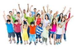 Grupo de personas grande que celebra Fotografía de archivo libre de regalías