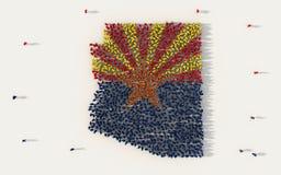 Grupo de personas grande que forma el mapa de la bandera de Arizona en los Estados Unidos de América, los E.E.U.U., en concepto s ilustración del vector