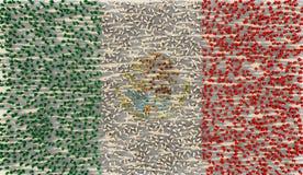 Grupo de personas grande que forma la bandera nacional de México en concepto social de los medios y de la comunidad en el fondo b ilustración del vector