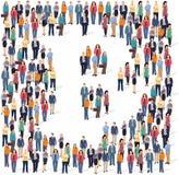 Grupo de personas grande que forma la muestra del bitcoin libre illustration