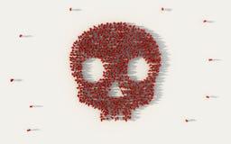 Grupo de personas grande que forma un símbolo rojo del cráneo en concepto social de los medios y de la comunidad en el fondo blan foto de archivo