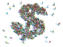 Grupo de personas grande recolectado junto en la forma de un dólar Imágenes de archivo libres de regalías