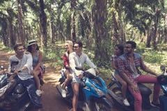 Grupo de personas joven que conduce viaje de las vespas en el viaje tropical de Forest Cheerful Friends Having Road en las bicis Imagenes de archivo