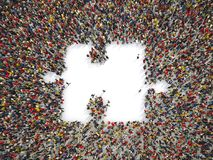 Grupo de personas junto para formar un pedazo de rompecabezas representación 3d stock de ilustración
