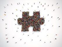Grupo de personas junto para formar un pedazo de rompecabezas representación 3d ilustración del vector