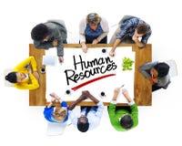 Grupo de personas multiétnico que discute sobre recursos humanos fotos de archivo