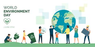 Grupo de personas multiétnico que elige una forma de vida respetuosa del medio ambiente sostenible libre illustration