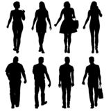 Grupo de personas negro de la silueta que se coloca en diversas actitudes ilustración del vector