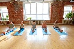 Grupo de personas que hace actitud del personal de la yoga en el estudio foto de archivo libre de regalías