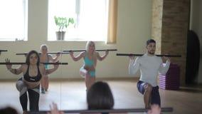 Grupo de personas que hace ejercicios con las barras almacen de video