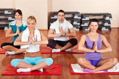 Grupo de personas que hace ejercicios de la yoga Imagen de archivo libre de regalías