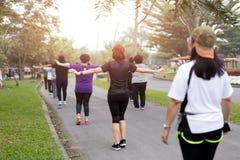 Grupo de personas que hace el baile de los aeróbicos del ejercicio Foto de archivo libre de regalías