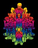 Grupo de personas que ruega a dios, gráfico de la historieta de la unidad del rezo stock de ilustración
