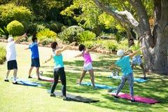 Grupo de personas que se realiza estirando ejercicio en el parque imagen de archivo libre de regalías