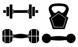 Grupo de pesos para o gym Cor preta isolada no fundo branco ilustração royalty free