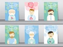 Grupo de pessoa que desing para o cartão feliz do dia do ` s do pai, cartaz, molde, cartões, povos, homens, dady, ilustrações do  Imagens de Stock Royalty Free