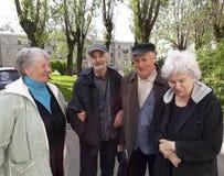 Grupo de pessoas adultas felizes que relaxam foto de stock royalty free