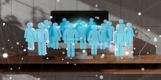 Grupo de pessoas branco e azul que voa sobre a rendição do desktop 3D Imagem de Stock