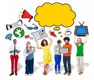 Grupo de pessoas com bolha vazia do discurso Imagens de Stock