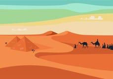 Grupo de pessoas com equitação da caravana dos camelos em areias largas realísticas do deserto em Egito Ilustração Editable do ve ilustração stock
