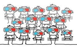 Grupo de pessoas com vidros 3D ilustração royalty free