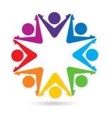 Grupo de pessoas dos trabalhos de equipa, logotipo alegre do vetor da comunidade ilustração stock